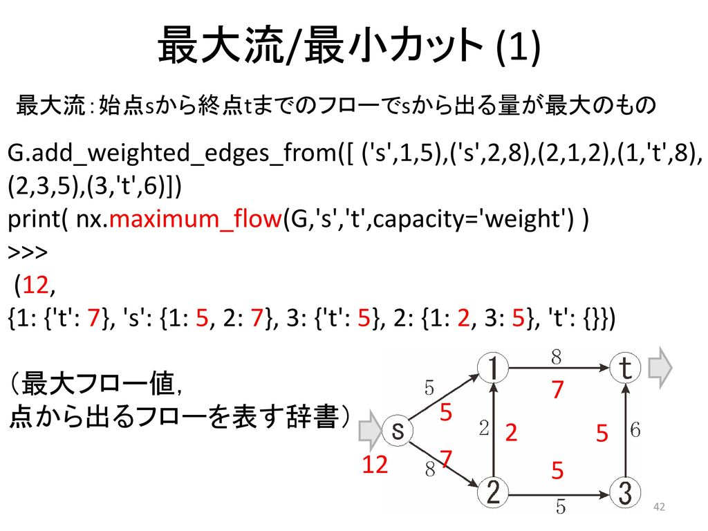 最大流/最小カット (1) 最大流:始点sから終点tまでのフローでsから出る量が最大のもの. G.add_weighted_edges_from([ ( s ,1,5),( s ,2,8),(2,1,2),(1, t ,8),
